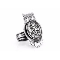 Coin ring with the Leo coin medallion on owl Leo jewelry leo ring ahuva zodiac jewelry