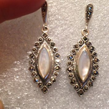 Vintage Genuine Marcasite Real Mother of Pearl 925 Sterling Silver dangle earrings