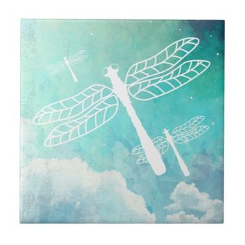 Flying Dragonflies Watercolor Sky Tile