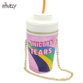 2017 New Fashion design personalized drink soda bottles modeling Skinny Dip Unicorn Tears Novelty Bag Shoulder Bag Handbag