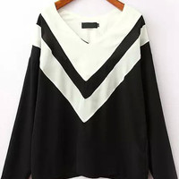 Black and White V-Neck Long Sleeve Blouse