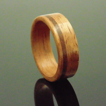 Golden Koa wood ring with bronze inlay