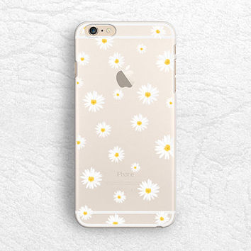 Cute Daisy flower matte transparent phone case for iPhone 5 5s, iPhone 6, Nexus 6, Sony z3, HTC one M9, LG g3, Samsung S6 floral case -P37