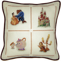 """Beauty And The Beast Pillow Counted Cross Stitch Kit - 14""""X14"""" 18 Count"""