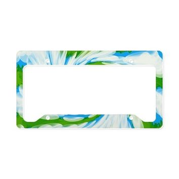 Groovy Turquoise Blue Swirl A License Plate Holder