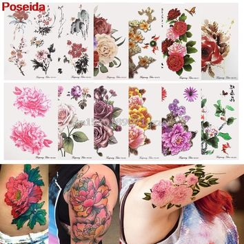 temporary tattoo 12 style Temporary Tattoos Tattoo Stickers Waterproof Flowers series Arm Fake Transfer #H027#