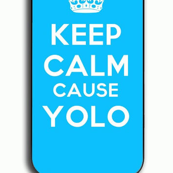 iPhone 4S Case - Hard (PC) Cover with Tiffany Blue Keep Calm Cause YOLO Plastic Case Design