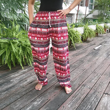Zen Aztec Stripes Red Print Trousers Yoga Harem Pants Unisex Summer Hippie Baggy Boho Style Gypsy Cool Cloth Tribal Clothing For Beach