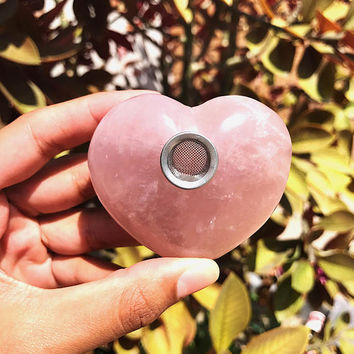 Rose Quartz Crystal Pipe, Crystal Pipe, Heart Pipe, Quartz Heart, Gemstone Pipe, Stone Pipe, Love Stone