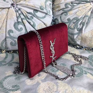Ysl Saint Laurent Velvet Chain Shoulder Bag