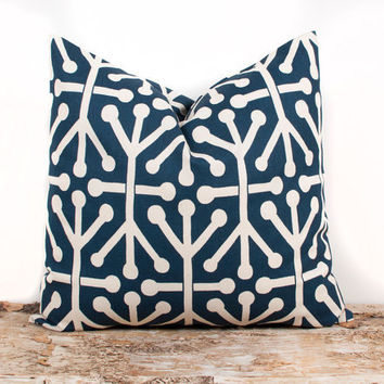 SPRING SALE Navy Pillow Cover. ONE 16x16 inch. Blue Geometric Design. Pillows. Home Decor Accents. Accessories. Cream Lines. Stripes. Brigh