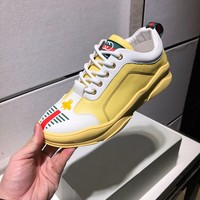 Gucci Yellow Fashion Casual Sneakers Sports Shoes size 40-44