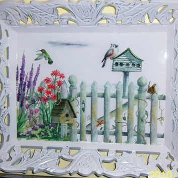Welcome to my Garden wood tray - swarovski crystals