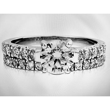 An Extraordinary 1CT Round Cut Russian Lab Diamond Bridal Set Wedding Band Ring