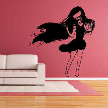 Vinyl Wall Decal Sticker Girl in Wind #OS_MB413