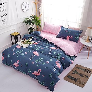 Pink Flamingo Geometric Patterned Bedding Set