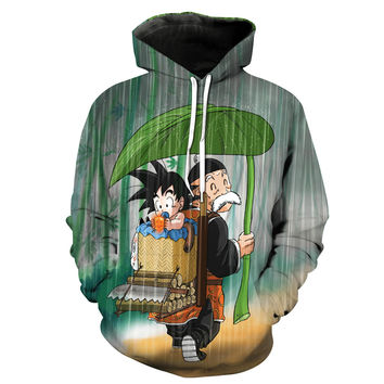Baby Goku and Grandpa Gohan In The Rain Dragon Ball Z Hoodie