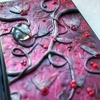 Polymer clay journal / mixed media / colourful diary / custom journal / floral / fantasy journal / fantasy / secret diary