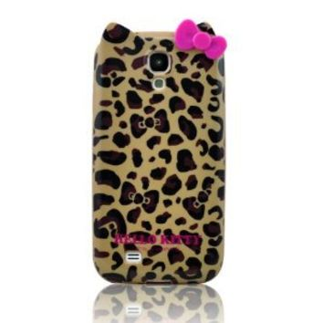 Stylish Cartoon TPU Leopard & Bow Case Cover Compatible for Samsung Galaxy S4 SIV i9500(Yellow) by efuture