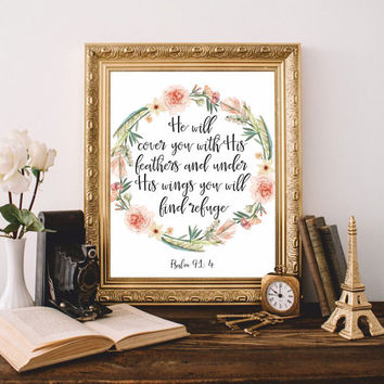 Bible verses Bible quotes Christian wall art Scripture print art He will cover you Psalm 91:4 Printable 8x10 Digital file Feathers SALE!