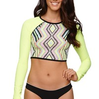 LA Hearts Super Cropped Rashguard Top - Womens Swimwear -