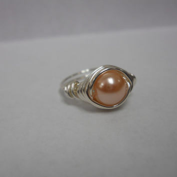 Silver Plated Wire Wrapped Faux Pearl Ring, Custom Ring, Wire Wrapped Ring, Wire Ring, pearl ring, wire wrapped pearl ring