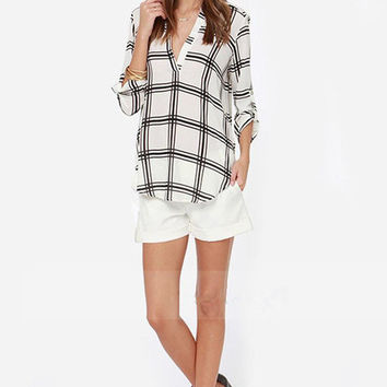 Deep V-Neck Loose Chiffon Plaid Shirt
