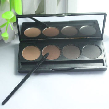 Cosmetic 4 Colours Multifunction Smoked Color Eyebrow Powder Palette with Mirror and Brush