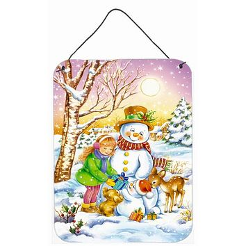 Girl and Animals with Snowman Wall or Door Hanging Prints APH3544DS1216