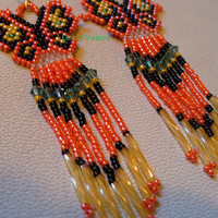 Native American Style Brick Stitch beaded Butterfly earrings in Orange Black and Yellow