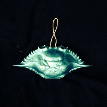 Blue Crab Christmas Ornaments a Hand Painted in Metallic Turquoise