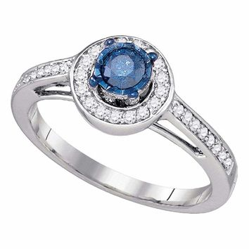 10kt White Gold Womens Round Blue Color Enhanced Diamond Solitaire Bridal Wedding Engagement Ring 3/8 Cttw - FREE Shipping (US/CAN)