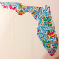 Lilly Pulitzer Inspired Florida Decal