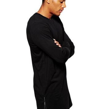 Mens Long Line Side Zip T-Shirt