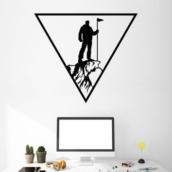 Vinyl Wall Decal Rock Climber Alpinism Climber Mountain Extreme Stickers (2732ig)