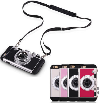Newest Fashion Retro 3D Camera Design Back Cover Case With Long Strap Rope For iPhone 7 7 Plus 6 6S plus 4 colour Free Shipping