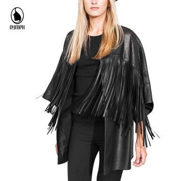 2016 New Womens Long PU Leather Jackets and Coats Fashion Fringe Black Hollow Out Slim Women Coat jaqueta de couro feminina