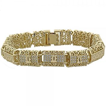 Gold Layered 03.63.1151 Fancy Bracelet, Filigree Design, with White Micro Pave, Diamond Cutting Finish, Golden Tone
