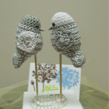 wedding cake topper, Two Love birds cake topper , Crocheted Birds amigurumi, Silber Wedding Amigurumi, Bird themed wedding, Bird cake Topper