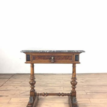 Louis XVI Style Vintage Carved Marble Top End Table