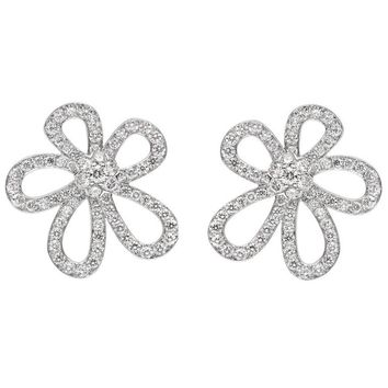 "Van Cleef & Arpels Large White Gold Diamond ""Flowerlace"" Earrings"