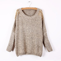 A 082022 Decorative rivets loose bat sleeve pullover knitted