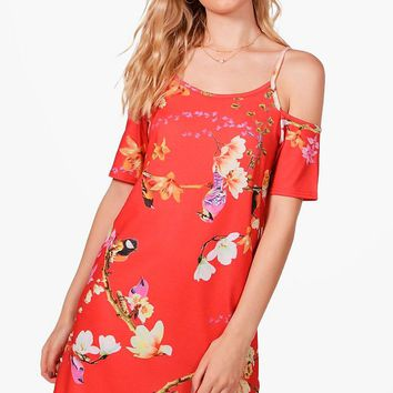 Iyla Oriental Cold Shoulder Shift Dress | Boohoo