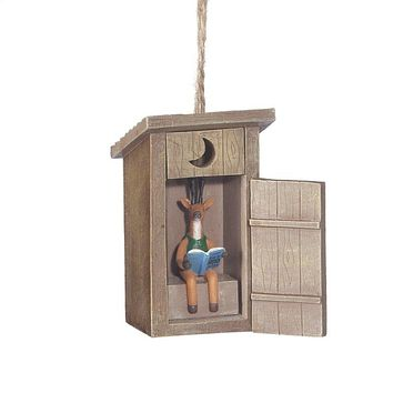 Outhouse Deer Inside Ornament