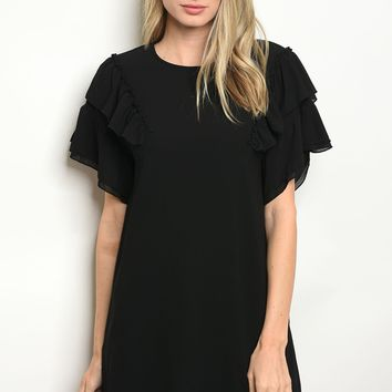 Flutter Sleeve Ruffle Detail Dress