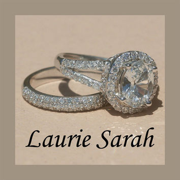 White Sapphire Split Shank Engagement Ring by LaurieSarahDesigns