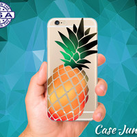 Pineapple Cutout Silhouette Summer Yellow Fruit Cute Tumblr Custom Clear Transparent Rubber Case Cover For iPhone 6 and iPhone 6 Plus +