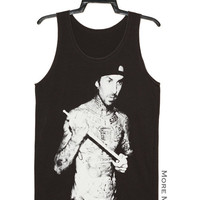Travis Barker Blink-182 Drummer Music Tee Tank Top Vest Tunic Charcoal Black Singlet Sleeveless Women Shirt Indie Punk Rock T-Shirt Size M-L