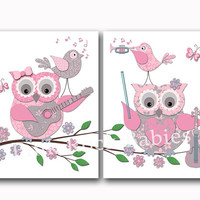 Music nursery decor pink wall art baby girl room poster kids artwork playroom decoration owl playing guitar violin instruments shower gift