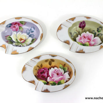 1950s Hand Painted Roses Lefton China Tray Set